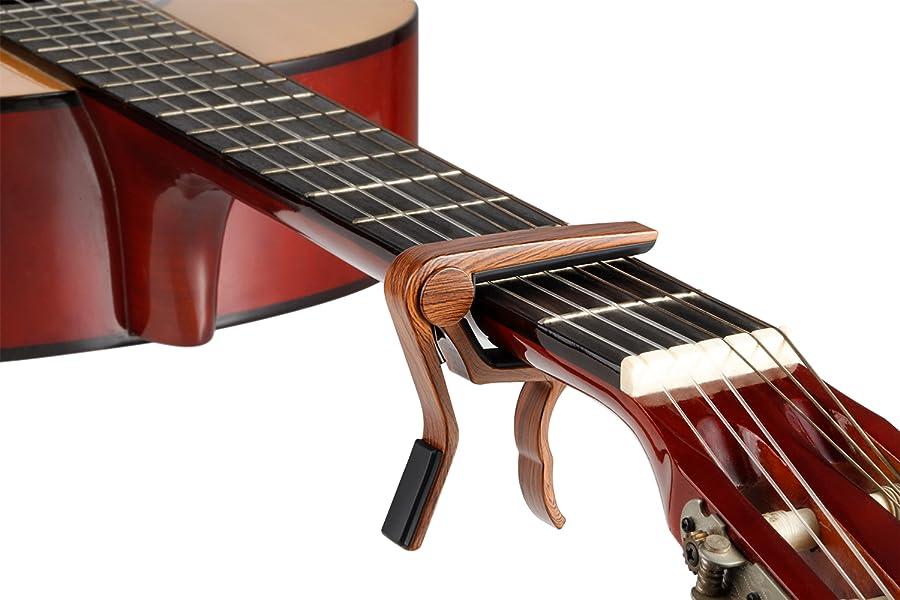 Amazon | カポタスト、カポ ギター カポタスト アコギ、カポタスト アコースティックギター用、 ウクレレカポ、エレキカポ ベニノキ色 古典的な探し | カポタスト | 楽器