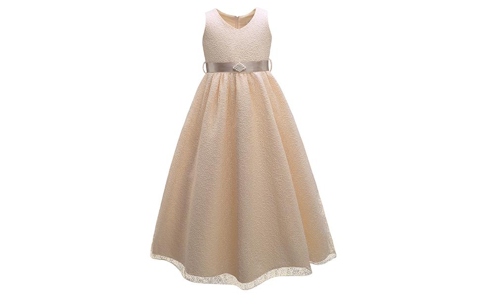 061bc5ef85996 Pettigirl 子供ドレス 発表会 ジュニアドレス 女の子 4枚重ね フォーマル 踝までロングドレス ピアノ発表会 演奏会 大きいサイズ