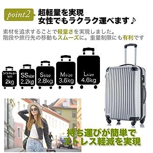 54fcfec03c Amazon | (トラベルデパート) 安心の3年保証 超軽量スーツケース TSA ...