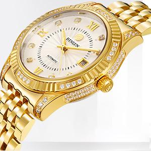 9cb27c9ac3 Amazon | 腕時計 ゴールド メンズ BINLUN スタンダード 機械式 自動巻き ...