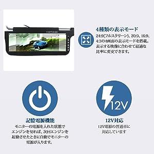 ★12.2インチサンバイザーモニター左右セット 黒+4口分配器 [S1220B/914VP]