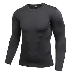 ZDCGT 多機能 スポーツシャツ 接触冷感 インナー メンズ 長袖 スポーツインナー 吸汗速乾 UVカット Tシャツ ランニング トレーニング アンダーウェア 丸首 クルーネック ジムブラックXL