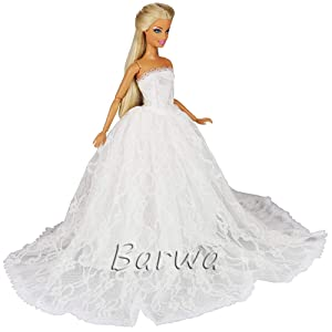 093ccd9b1a2b3 「Barwawa」バービー 服 ウェディングドレス バービー人形 プリンセスドレス ホワイトレースドレス 手作り 王冠・ベール付き …