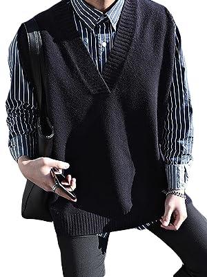 BSCOOLニットベスト メンズ Vネック ゆったり 袖なし ニットセーター 韓国ファッション ストリート系 プルオーバー 大きいサイズ