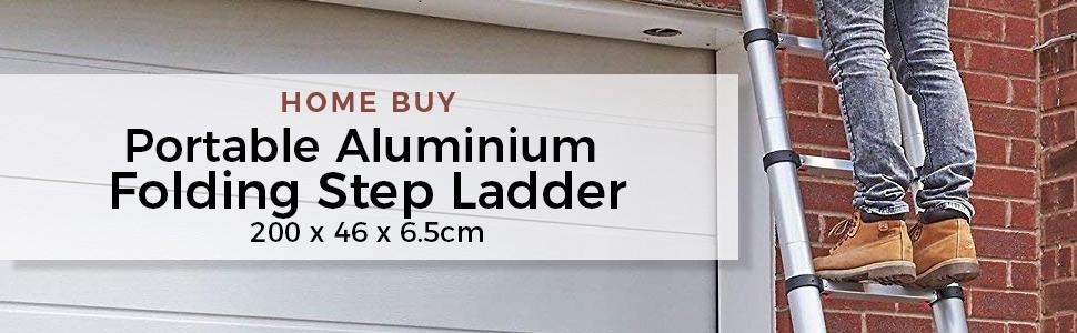 Aluminium Folding Step Ladder Portable and Compact 7-Steps Telescopic 2 m Foldable