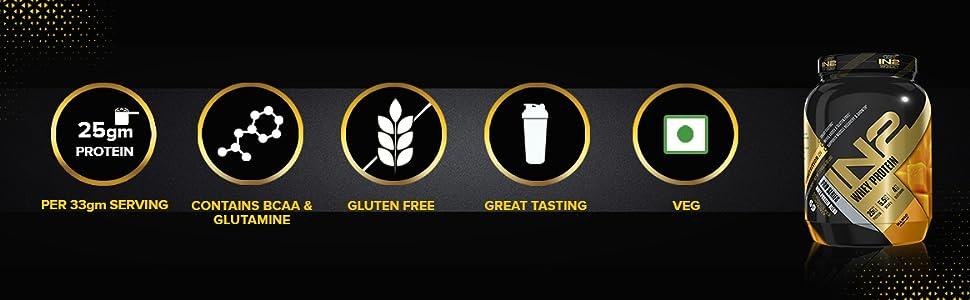 Whey Protein, 33g protein, gluten free, great taste, bcaa, glutamine, proteins
