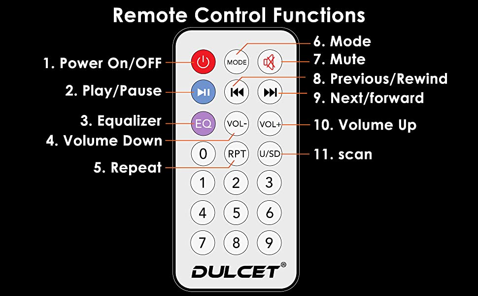 Dulcet DC-ST-9090  Universal Fit Single Din Mp3 Car Stereo Remote Functions