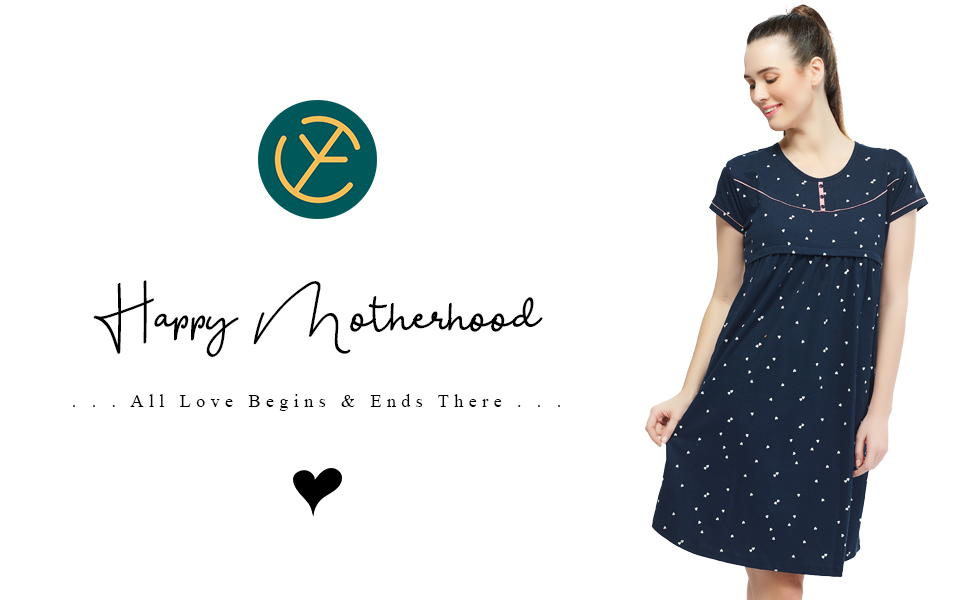 20fa0db60620e ZEYO Women's Cotton Maternity Dress | Heart Print Feeding Night ...