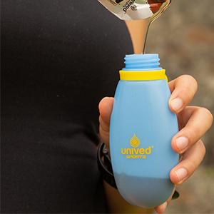 running bottle, gel flask, energy gel flask, unived, water bottle