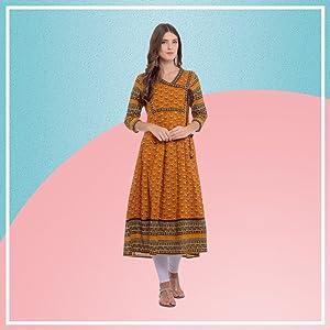 women cotton kurta online Rapsodia Women's Cotton A-Line Kurta
