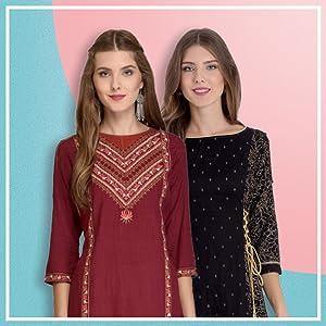 Rapsodia Women's Cotton A-Line Kurta