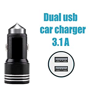 Car Charger, Dual USB Ports Adapter, Emergency Glass Breaker Hammer Charging Technology fast