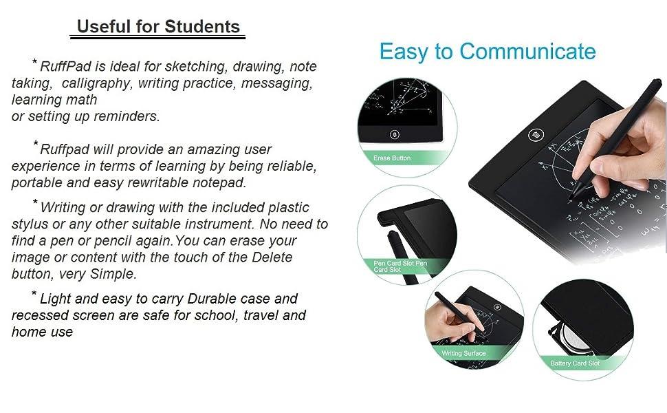 Un-ech Portable Ruff Pad EWriter  Un-Tech Portable Ruff Pad E-Writer 8.5 inch Paperless Memo Digital