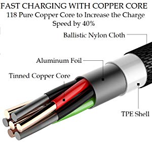 fast charging pure copper cables balastic nylon braided cable