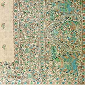 printed silk sarees for women latest design madhubani sarees hand painted