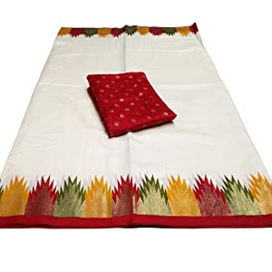 bhagalpuri silk saree durga pooja silk sarees white & red
