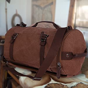 FUR JADEN Canvas Brown Duffle Travel Bag with Backpack Straps and ... 9b057b49b4aa6