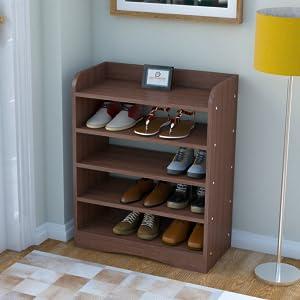 walnut shoe rack