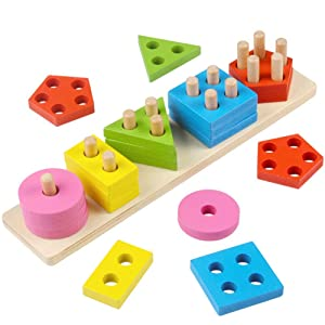 Toyshine Wooden Angle Geometric Blocks Building Stacker Shape Sorter Column Puzzle Stacking