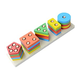 Toyshine Wooden Angle Geometric Blocks Building Stacker Shape Sorter Column Puzzle Stacking Set for
