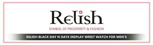 RELISH BLACK Day n Date Display Wrist Watch for Men's