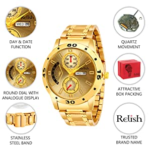 Relish Golden Chain and Dial Latest Stylish Analog Wrist Watch for Mens