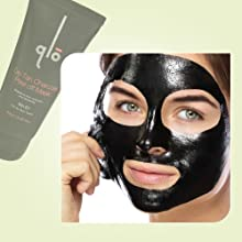 QLO De-tan Charcoal Peel off Mask - For All Skin Types with Plant Extracts, Collagen Peptide (60ml)