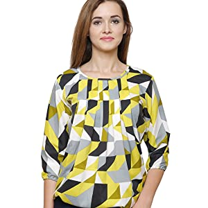 yellow multi color boat neck top