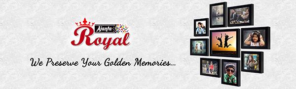 """Ajanta Royal Set of 9 Individual Photo Frames (6-5""""x7"""", 2-5""""x5"""", 1-8""""x10"""" inch) Black : A-90A"""