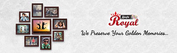"""Ajanta Royal Set of 9 Individual Photo Frames (6-5""""x7"""", 2-5""""x5"""", 1-8""""x10"""" inch) Brown : A-90B"""