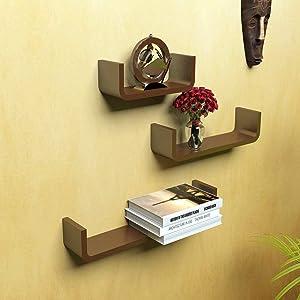SANTOSHA Dƒ??COR MDF U-Shape Metallic Paint Floating Wall Shelves