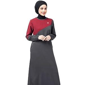 Grey & Red Colour Block Abaya