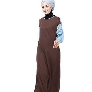 Brown And Blue Drop Shoulder Abaya