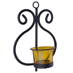 yellow and black votive stand