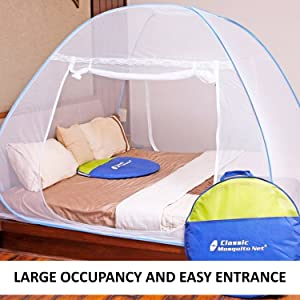 Classic Mosquito Net, Double Bed King Size Bed, Polyester Foldable – Blue