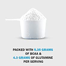 packed with 5.35 grams of bcaa & 4.3 grams of glutamine per serving