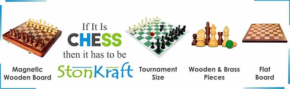 StonKraft 17'' x 17'' Tournament Chess Vinyl Foldable Chess Game with Solid Plastic Pieces