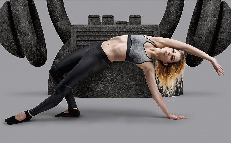 JUKEBOX ACTIVE WEAR GYM SOCKS ONLINE FITNESS WORKOUT YOGA DANCE BLACK OPEN GRIP