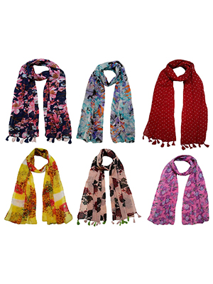 Printed Multi-coloured Stoles (Pack of 6) by FusFus