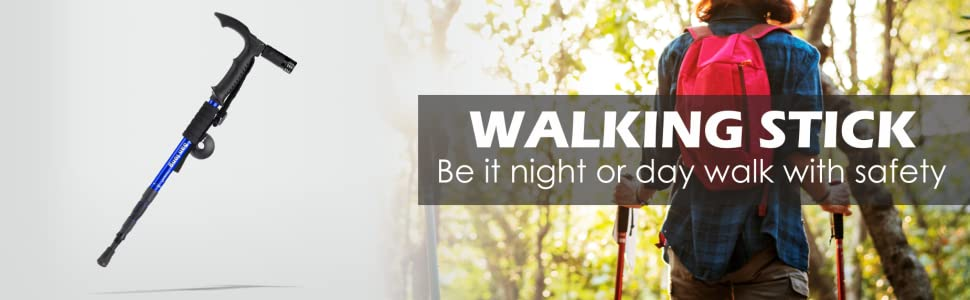 Homesoul 4-Step Adjustable Anti-Shock Telescopic Hiking Walking Stick with LED Flashlight