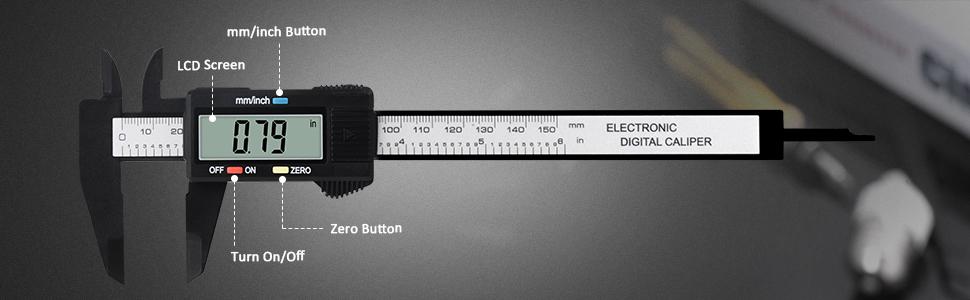 "Digital Caliper, 0-6"" Calipers, Measuring Tool - Electronic Micrometer Caliper with Large LCD Screen"