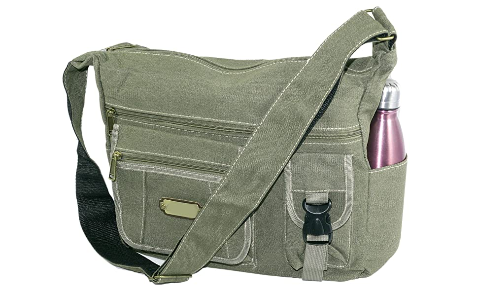 ae59e9a2ba33 Stylish cotton sling cross body messenger college one side shoulder bag for  men women - (Olive