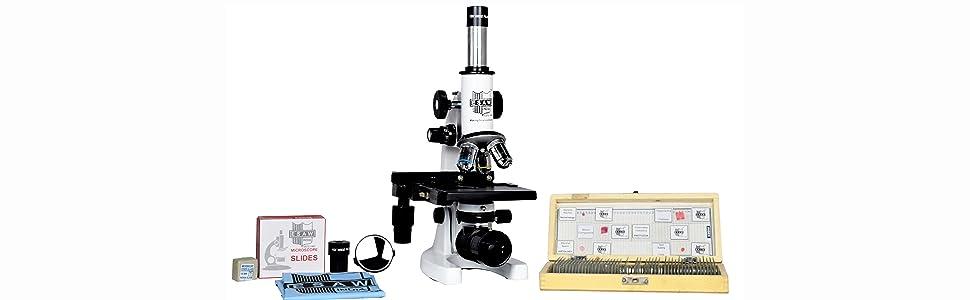 esaw microscope, slide box, mirror, wide field, blank slide piece