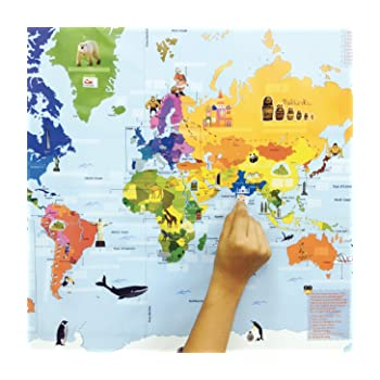 Buy traveller kids interactive world map kit online at low prices a non tear wipeable 3 x 2 feet world map 100 reusable sticker labels ff countries their capitals and currencies solution key the joy of a toy gumiabroncs Gallery