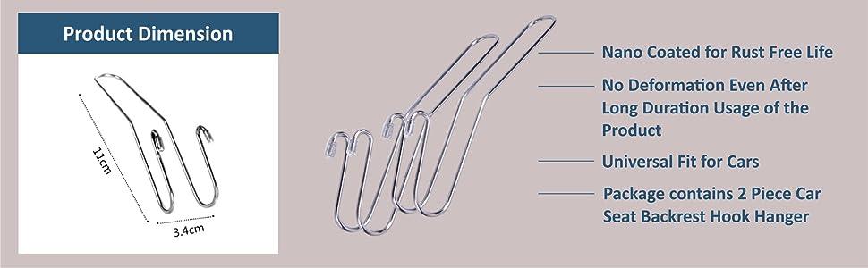 Levon Car Hook/Hanger Dimension & Features