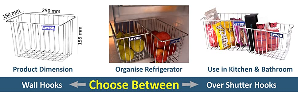 Product Dimension;Organise Refrigerator;Use in Kitchen & Bathroom,Walls Hooks;Over shutter Hooks