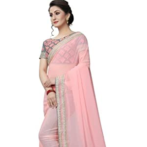 a05bca3cc97e82 Pink Moit With embroidered Blouse and Hand attached moti work in Saree