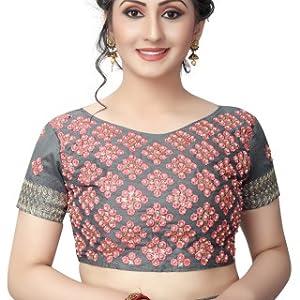edef564caddac2 AnK Women s Pattern ruffle Silk Saree With Blouse (Firozi Pink ...