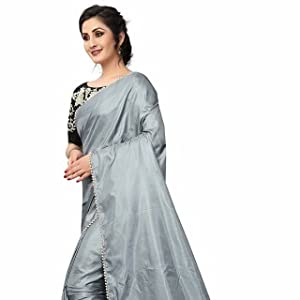 2484ed9e984832 Embroidred Blouse with Pink Georgette Saree. Grey Paper Silk Moti border  design Party wear Saree