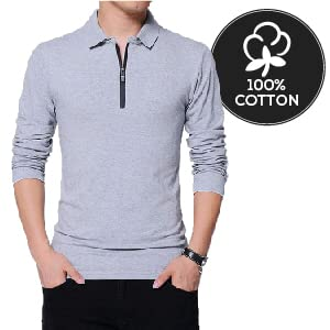 soft cotton fabric polo zip collar t-shirt